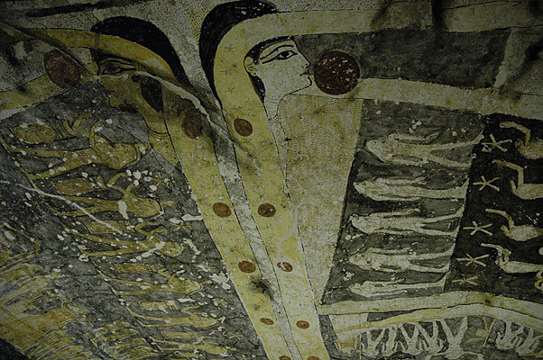 Wonderful ceiling painting of the goddess Nut in the tomb of Ramses IX.